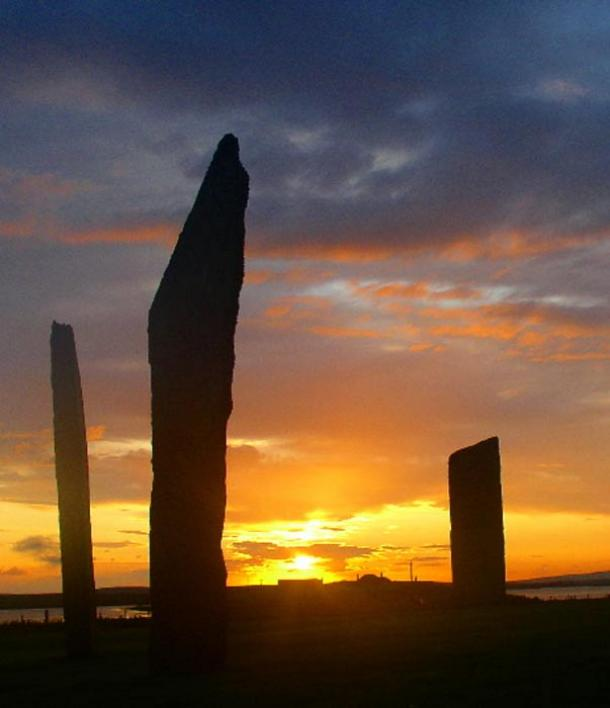 Sunset at the Standing Stones of Stenness, Orkney.