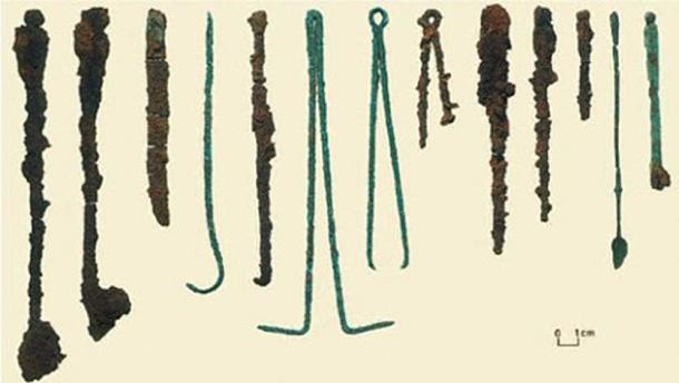 Surgical tools found in the burial.