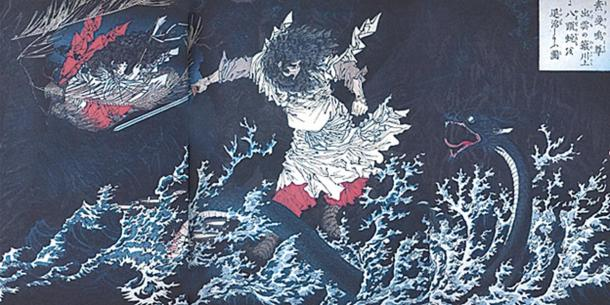 Susanoo slaying the Yamata no Orochi, by Yoshitoshi.