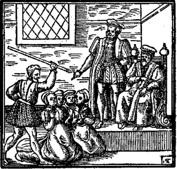Suspected witches kneeling before King James; Daemonologie (1597)