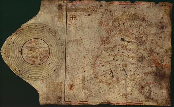 Suspected Christopher Colombus map. Lisbon, workshop of Bartolomeo and Christopher Colombus (c.1490)  (Gallica Digital Library/Public Domain)