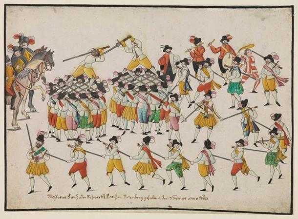 Sword dance and fencing game of the Nuremberg mastersmith, Nuremberg, 1600.