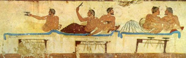 Symposium, Fresco from the Tomb of the Diver. 475 BC. (Public Domain)