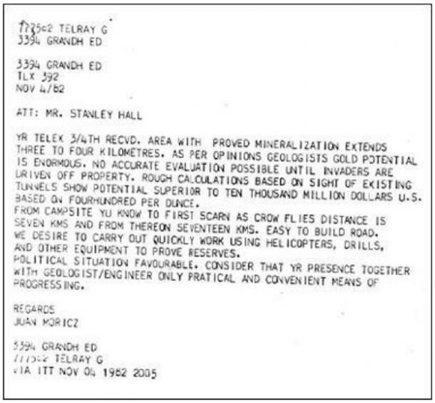 TELEX cable dated November 4, 1962 sent to Stanley Hall by Juan Móricz. Photo credit: Stanley Hall.
