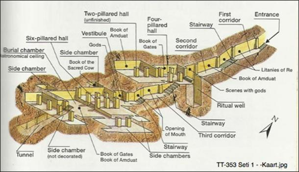 Illustrated map of TT-353, built for Senenmut but not where he was etombed.