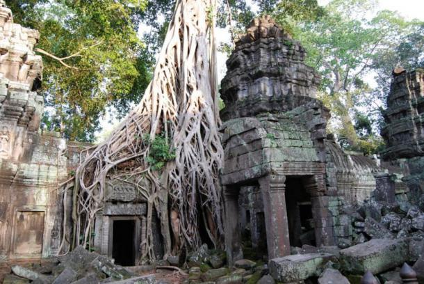 The famous 'Tomb Raider' doorway, Ta Prohm Temple, Angkor, Cambodia.