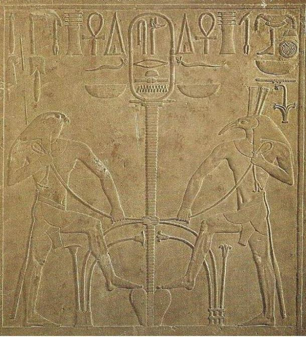Tablet depicting Horus and Seth and the meeting of the two lands