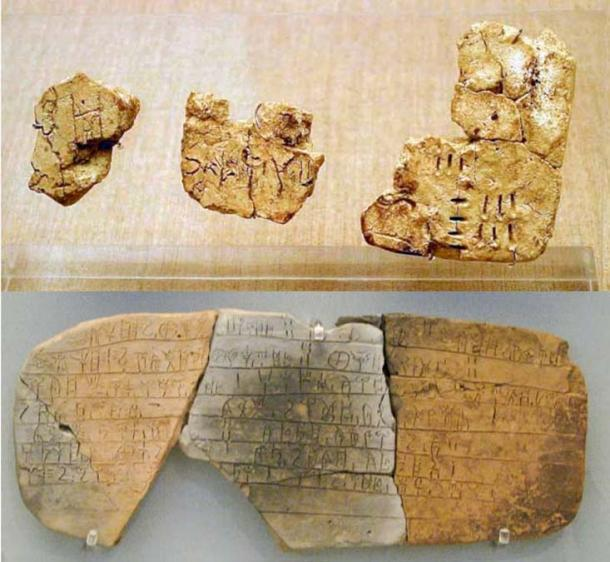 Top: Linear A incised on tablets found in Akrotiri, Santorini. (CC BY-SA 3.0) Bottom: Tablet inscribed with Linear B script, from the Mycenaean palace of Pylos.