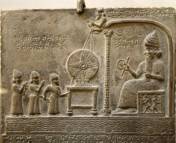 Tablet of Shamash, Ancient Babylonia; it dates from the 9th century BC and shows the sun god Shamash on the throne, in front of the Babylonian king Nabu-apla-iddina (888-855 BC).