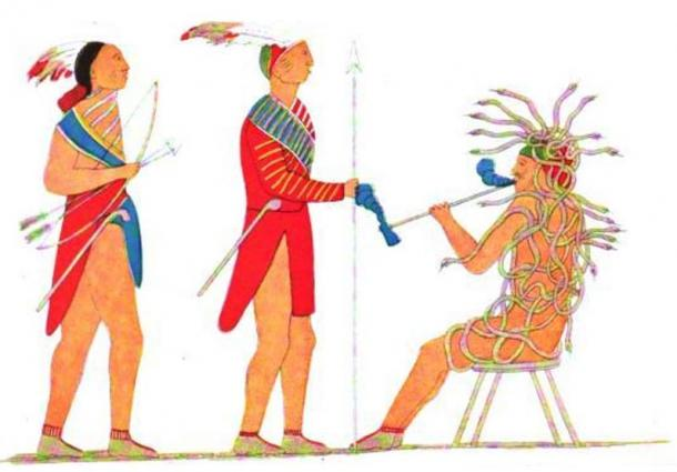 Iroquois painting of Tadodaho receiving two Mohawk chiefs