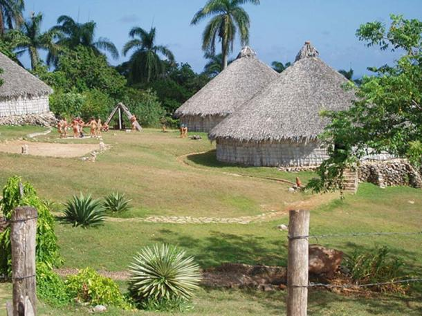 Reconstruction of a Taíno village in Cuba.