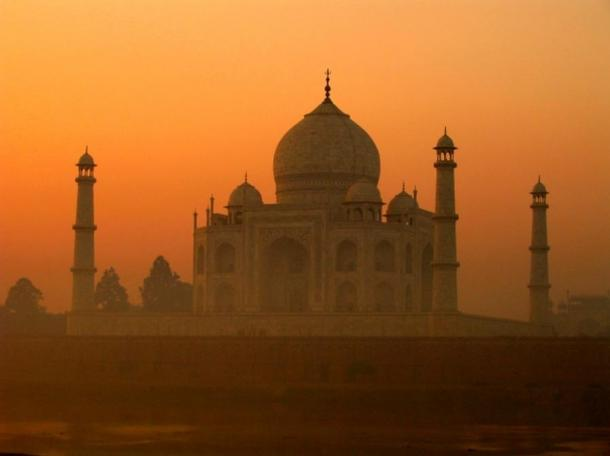 Taj Mahal through the fog.