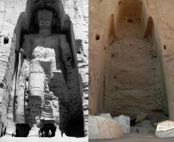 Taller Buddha of Bamiyan in 1963 and in 2008 after destruction