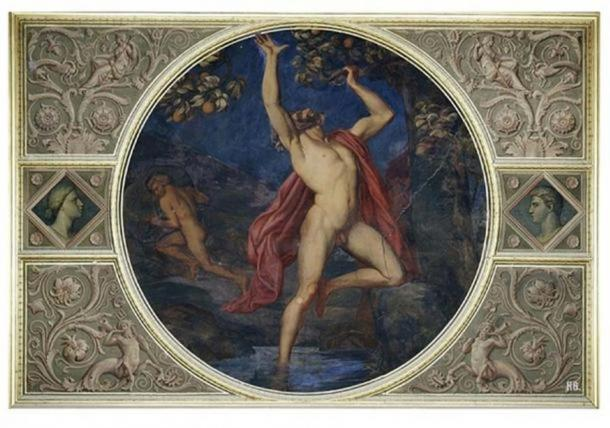 'Tantalus and Sisyphus in Hades' (ca. 1850), a wall painting (now destroyed) in the Niobidensaal of the Neues Museum, Berlin, Germany. ( Public Domain )