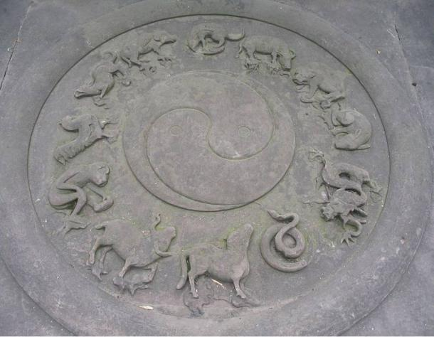 Daoist (Taoist) symbols carved in stone: yin-yang and animals of the Chinese zodiac. Qingyanggong temple, Chengdu, Sichuan, China.