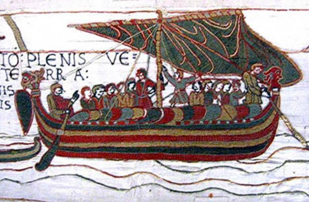 Tapestry embroidery featuring Viking Floki Vilgerdarsson and crew.