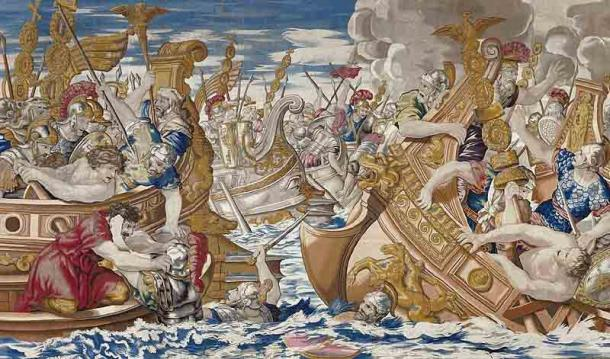 Tapestry depicting the Classis Ravennas in action during the sea battle between the fleets of Constantine and Licinius. (Public domain)