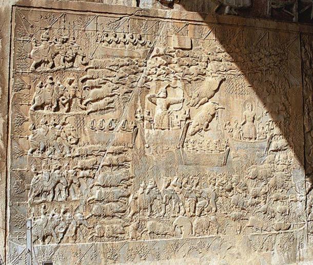 Taq-e Bostan, a low-relief depicting a boar hunt of King Khusrau II