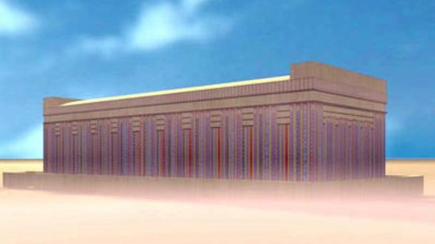 A reconstruction of  Tarkhan tomb 2050, where the Tarkhan dress was discovered.
