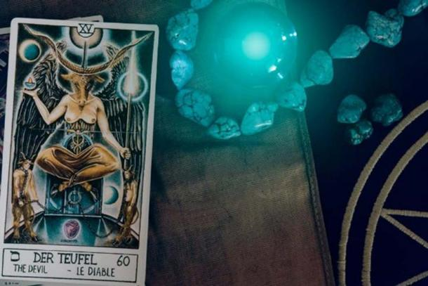 Tarot card depicting Baphomet, detail. (wimage72 / Fotolia)
