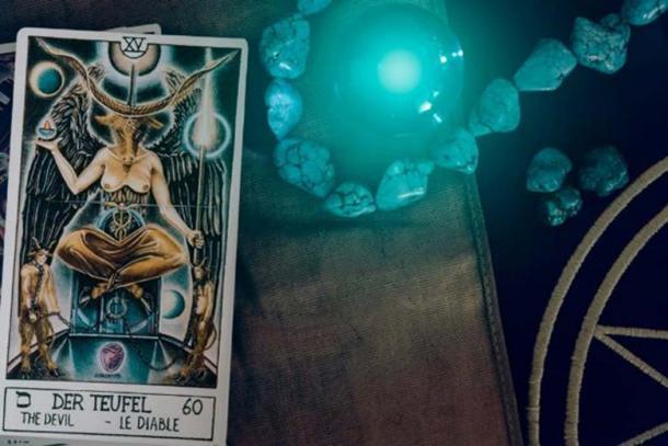 Tarot card depicting Baphomet, detail. (wimage72 / Fotolia)