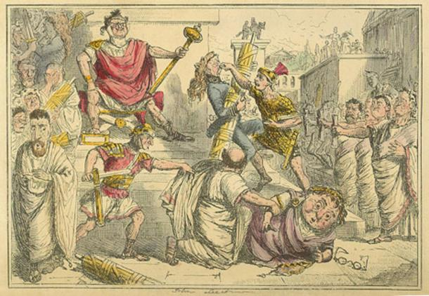'Tarquinius Superbus makes himself King' in The Comic History of Rome by Gilbert Abbott A Beckett. (ca. 1850)