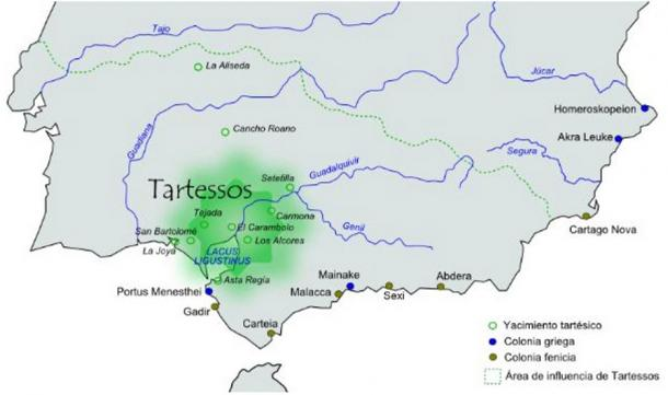 Approximate area of influence of the Tartessos civilization.