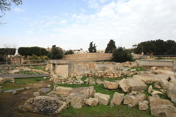 View of the Tarxien Temples megalithic complex.
