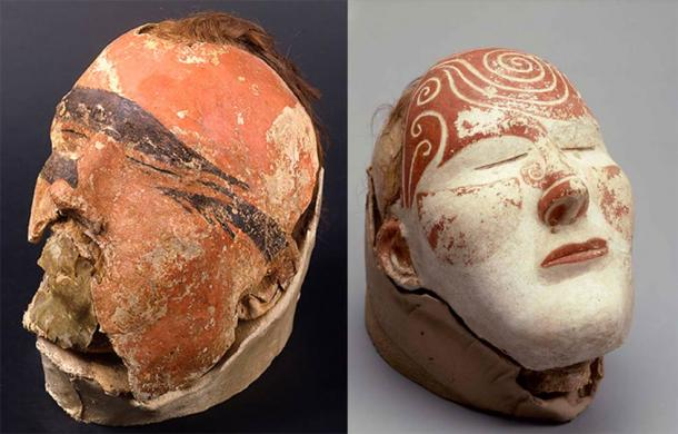 Male and female Tashtyk death masks are painted differently: the man's painted red with black stripes, and the woman's with spirals and scrolls. (© The State Hermitage Museum. Vladimir Terebenin, Pavel Demidov / The Siberian Times)