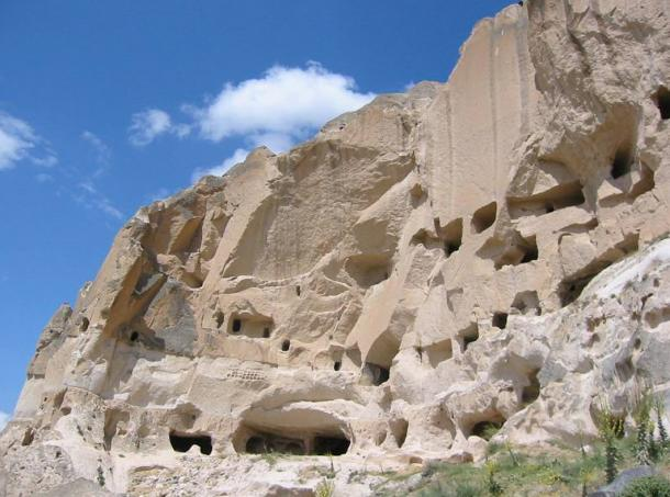 Tatlarin (Nevşehir), Turkey. Caves across the region have been carved out of the soft volcanic rock and used as dwellings, pathways, and storage.