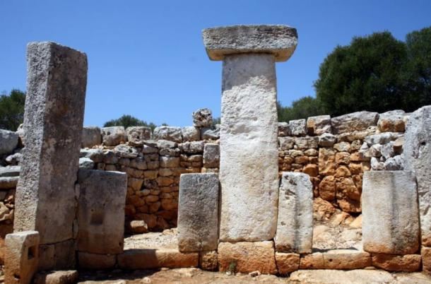 Taulas on Menorca. Archaeological site of the tower in Gaumés. Site also includes a circular house, thought to belong to an important figure.