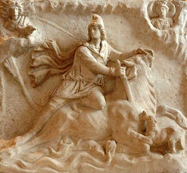 Tauroctony scene on a Roman bas-relief. 2nd or 3rd century.