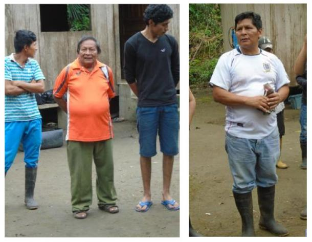 Tayu Jee  community leaders, Don  Luis Canillas (left, bookended by other community members) and Don Antonio Canillas (right). Photo credits: the author (2016).