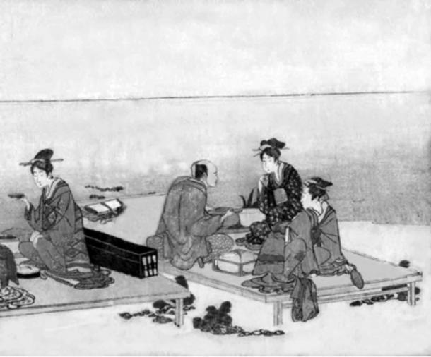 Eiri, 1790-1800, Japan. Tea by the seaside. Far East Rectilinear Parallel Perspective as we see for the tables.