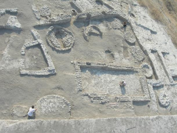 Tel Tsaf archaeological site, Israel. Courtyard building with silo bases