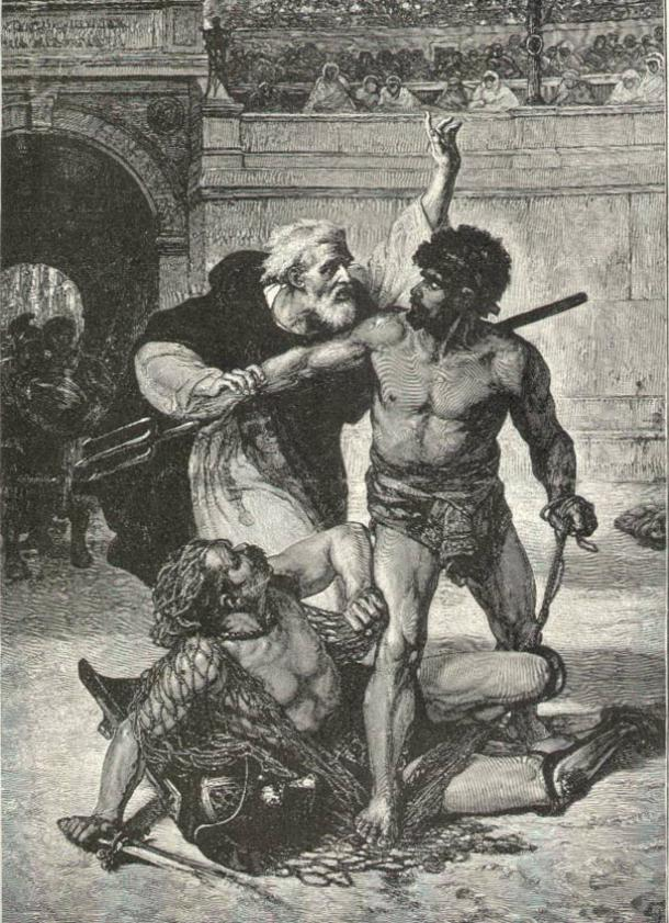 Telemachus stops two gladiators from fighting