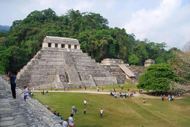 View of Temple XIII and Temple of Inscriptions from the Palace at Palenque, Chiapas, Mexico.