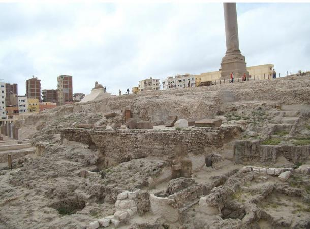 The remains of the ancient site of the Temple complex of Sarapis at Alexandria. It once included the temple, a library, lecture rooms, and smaller shrines but after many reconstructions and conflict over the site it is mostly ground level ruins.