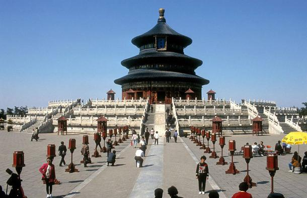 Temple of Heaven. The three-tiered monument rises into the sky, symbolizing a relationship between heaven and earth.