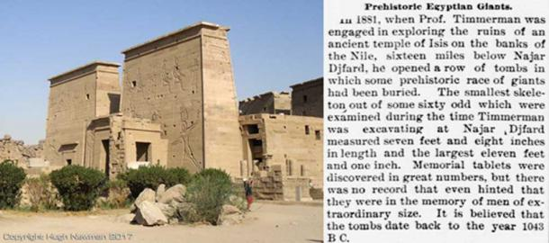 The Temple of Isis on Philae Island with the newspaper account detailing the discovery of giants. Photo by Hugh Newman.