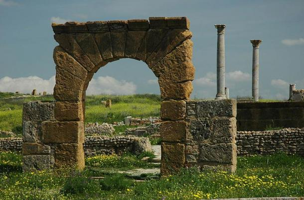 The abandoned and ruined Temple of Juno Caelestis, Thuburbo Maius, Tunisia.