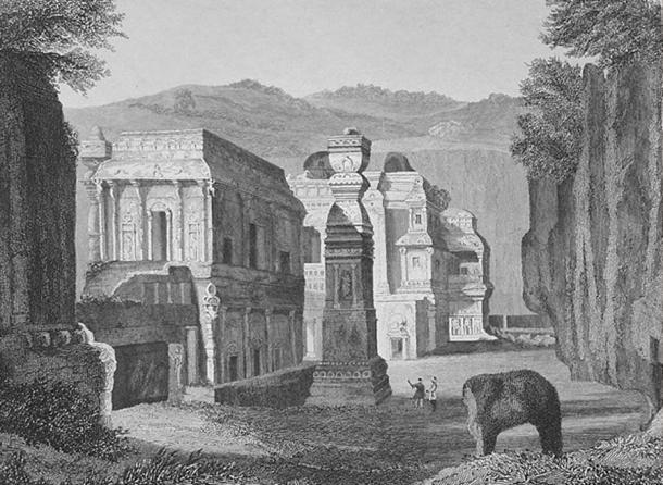 """Temple of Kailasa at Ellora, India,"" a steel engraving, 1857"