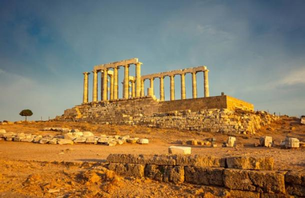 The remains of the Temple of Poseidon at Cape Sounion, built circa 440 BC.