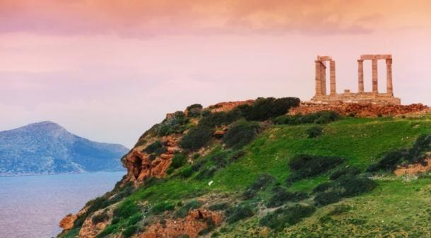The cliff of Cape Sounion and the Temple of Poseidon, Greece.