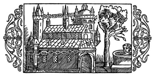 A woodcut depicting the Temple of Uppsala, as described by Adam of Bremen.