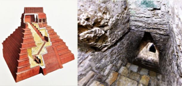 On Left - Temple of the Inscriptions, cutaway. On Right – First flight of stairs. (Philip Winton-Author Supplied / © georgefery.com)