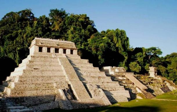 Temple of the Inscriptions (Pakal's burial pyramid, left), with Temple XIII adjacent (The Red Queen's burial pyramid). Palenque, Chiapas, Mexico.  Image: INAH