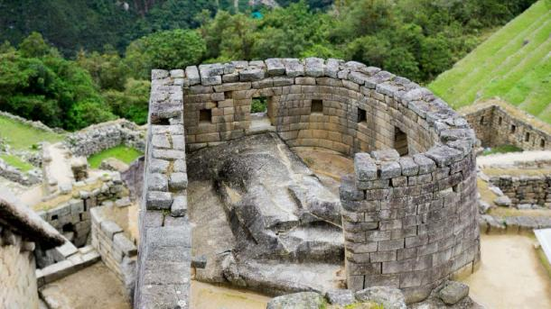 'Temple of the Sun' or the 'Sun Temple', in the ancient Inca city of Machu Picchu, Peru. (cristian / Adobe stock)