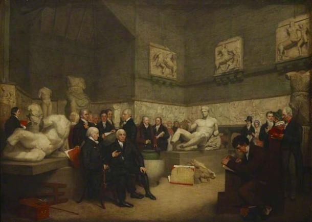 An idealised view of the Temporary Elgin Room at the Museum in 1819, with portraits of staff, a trustee and visitors.