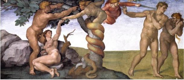 The temptation of Eve and expulsion of Adam and Even from Eden, a fresco of the Sistine Chapel by Michelangelo